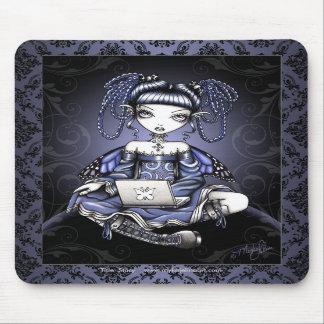Arte de hadas Mousepad del top azul lindo del reve