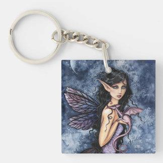 Arte de hadas púrpura de la fantasía del dragón llavero
