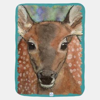 Arte de la acuarela del cervatillo de los ciervos  mantita para bebé