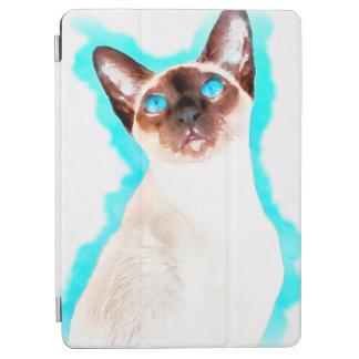 Arte de la acuarela del gato siamés cubierta de iPad air