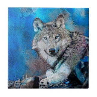 Arte de la acuarela del lobo azulejo cuadrado pequeño