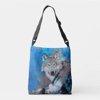 Arte de la acuarela del lobo bolso cruzado