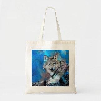 Arte de la acuarela del lobo bolso de tela