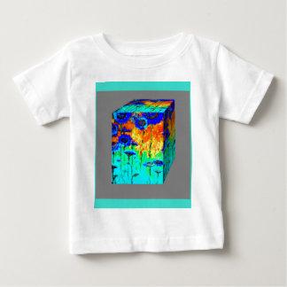 Arte de la caja de la flor de las azules turquesas camiseta para bebé