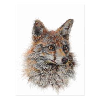 arte de la cara del zorro rojo postal
