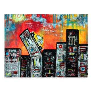 Arte de la ciudad del taxi postal
