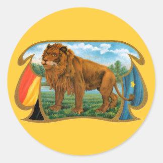 Arte de la etiqueta del cigarro del vintage, león