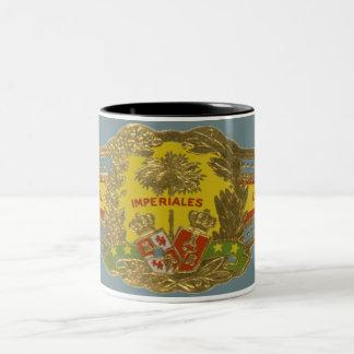 Arte de la etiqueta del cigarro del vintage, taza bicolor