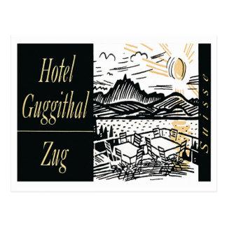 Arte de la etiqueta del hotel del vintage tarjeta postal