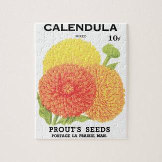 Arte de la etiqueta del paquete de la semilla del puzzle