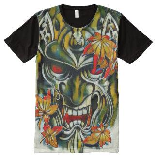 Arte de la fantasía de la máscara del samurai del camisetas con estampado integral