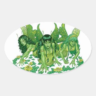Arte de la fantasía de tres hadas de la tierra por pegatina ovalada