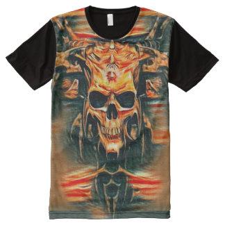 Arte de la fantasía del carbón de leña del cráneo camisetas con estampado integral