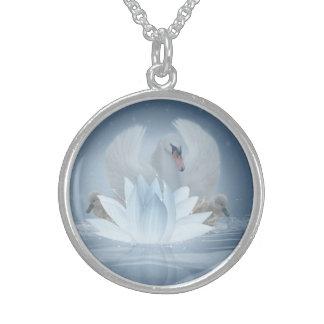 Arte de la fantasía del cisne y plata esterlina collares de plata esterlina
