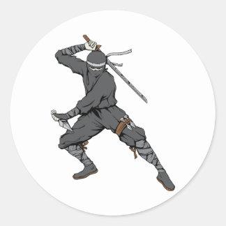 Arte de la fantasía del guerrero de los artes etiqueta redonda