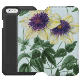 Arte de la flor del Clematis Funda Cartera Para iPhone 6 Watson