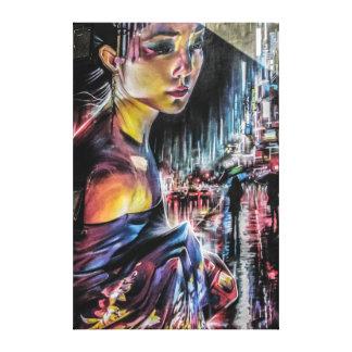 Arte de la lona de la noche de la ciudad de Tokio