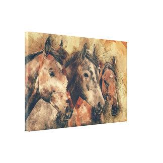 Arte de la lona de tres caballos