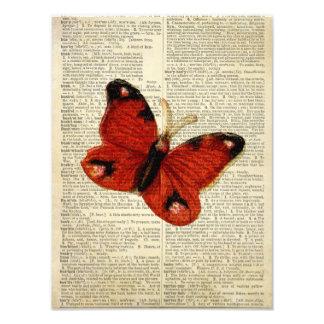 Arte de la mariposa en rojo de la página del dicci fotos
