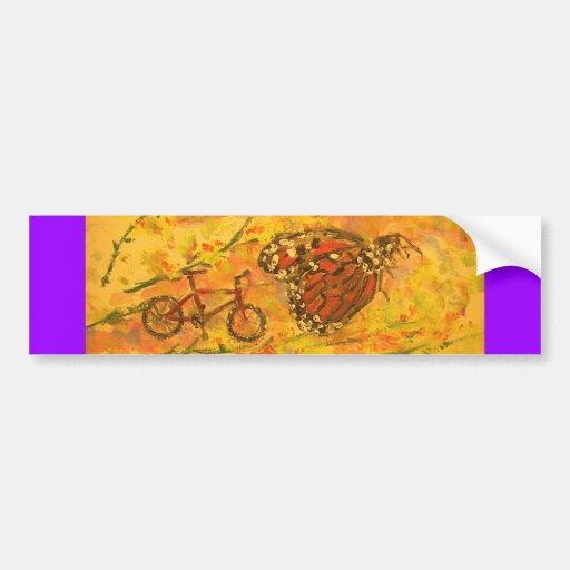 arte de la mariposa y de la bicicleta de monarca etiqueta de parachoque