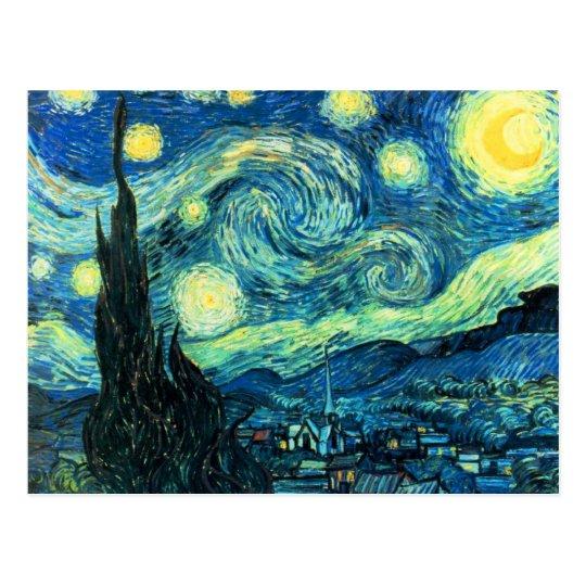 Arte de la noche estrellada postal