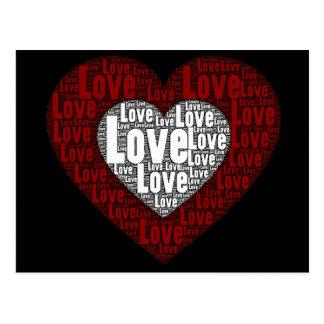 Arte de la palabra: Amor en un corazón doble Postal