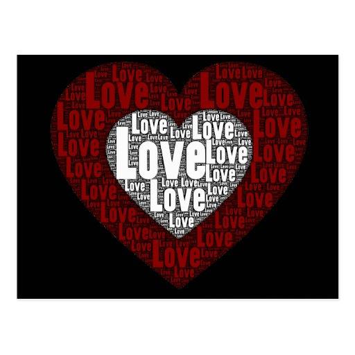 Arte de la palabra: Amor en un corazón doble Tarjetas Postales