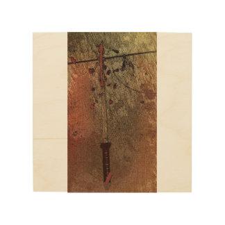 Arte de la pared de la espada del samurai