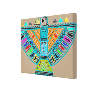 Arte de la pared de la lona del tótem del nativo