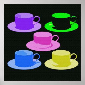 Arte de la pared de la taza de café del estilo del