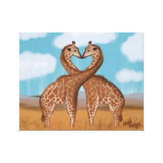Arte de la pared del amor de las jirafas