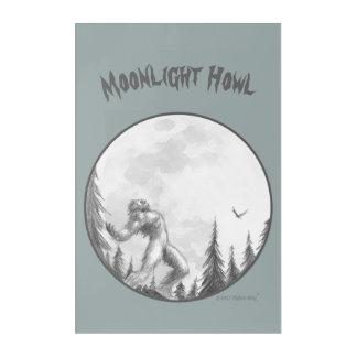 Arte de la pared del aullido del claro de luna en