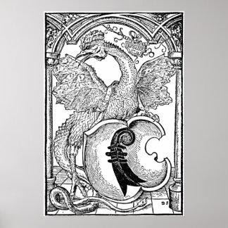 Arte de la pared del dragón del ◊ - el basilisco póster