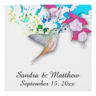 Arte de la pared del panel del boda del colibrí y