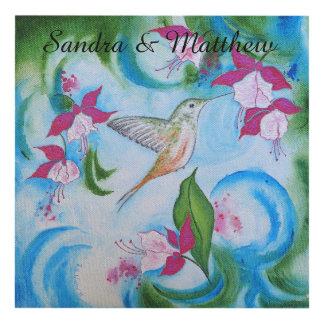 Arte de la pared del recuerdo del boda del colibrí