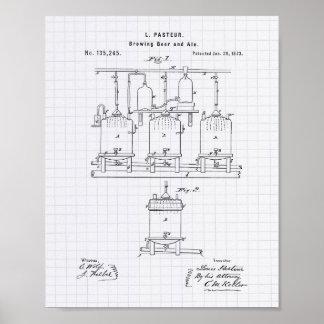 Arte de la patente de la cerveza y de la cerveza póster