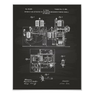 Arte de la patente de Nikola Tesla 1898 - pizarra
