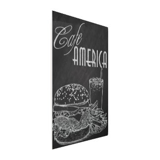 Arte de la pizarra de la hamburguesa de América