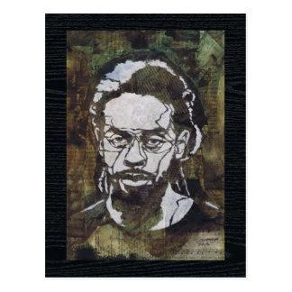 Arte de la plantilla de un hombre en el collage postal