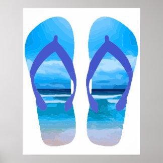 Arte de la playa del verano de los flips-flopes de póster