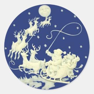 Arte de la postal del vintage del navidad de Papá Pegatina Redonda