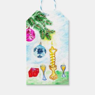 Arte de la vela de Navidad Etiquetas Para Regalos
