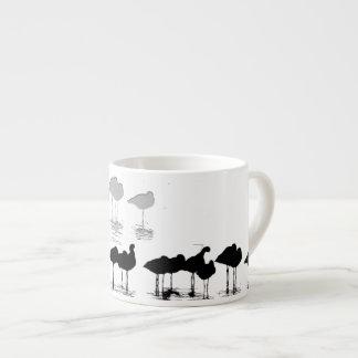 Arte de las aves costeras de los humedales tazas espresso