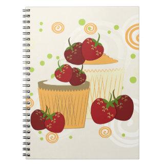 Arte de las fresas y de las magdalenas del verano cuaderno
