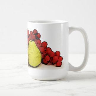 Arte de las frutas taza básica blanca