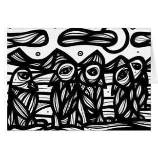 Arte de las ilustraciones de los pingüinos blanco tarjeta de felicitación