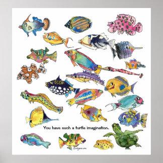 Arte de los pescados del dibujo animado de la imag póster