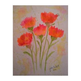 Arte de madera de la pared de 5 flores vivas de la