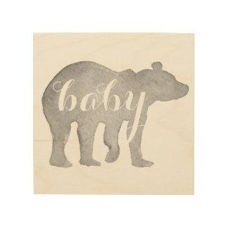 Arte de madera de la pared de la acuarela del oso