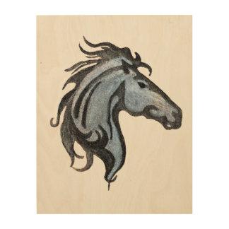 Arte de madera de la pared del caballo dramático
